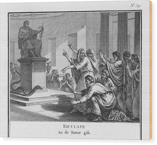 When Plague-afflicted Romans  Come Wood Print by Mary Evans Picture Library
