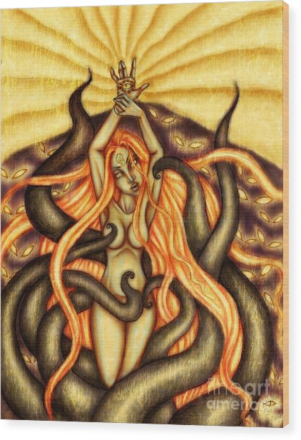 When Spirits Rise And Demons Dance Wood Print by Coriander  Shea