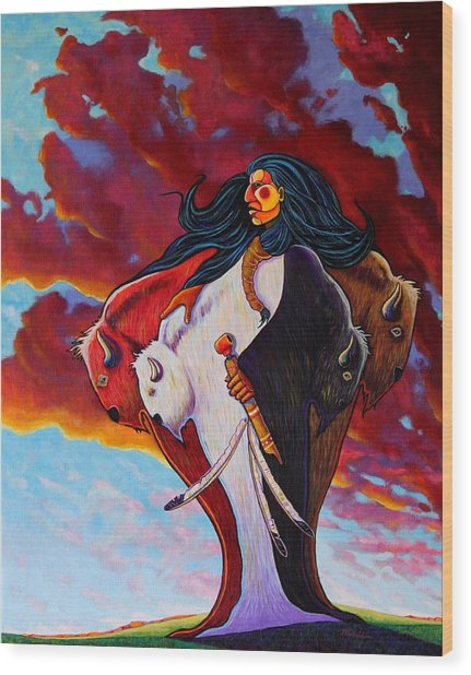 When The White Buffalo Woman First Appeared Wood Print by Joe  Triano