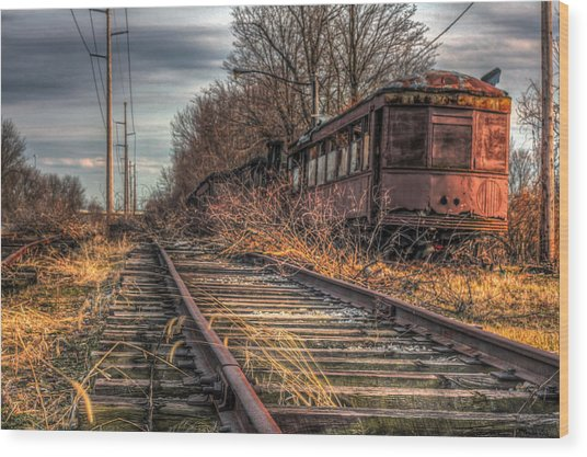 Where Trains Go To Die Wood Print by Gary Fossaceca