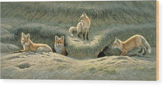 Where's Mom-fox Pups Wood Print