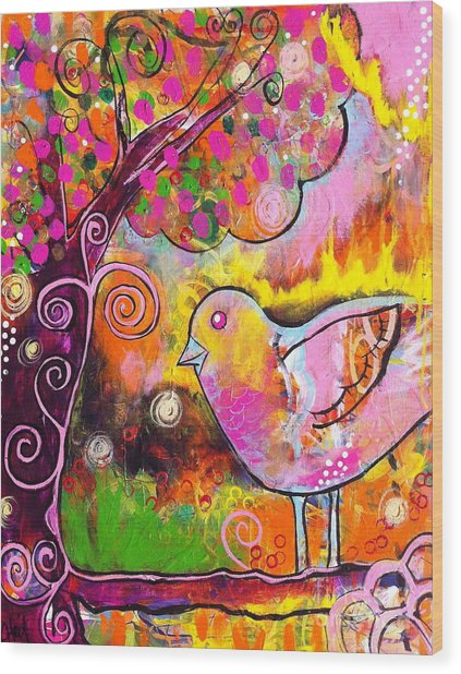 Whimsical Bird On A Branch Wood Print