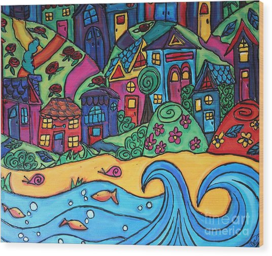 Whimsical Town Sectional  Wood Print