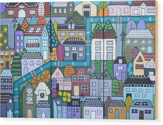 Whimsical Village Wood Print