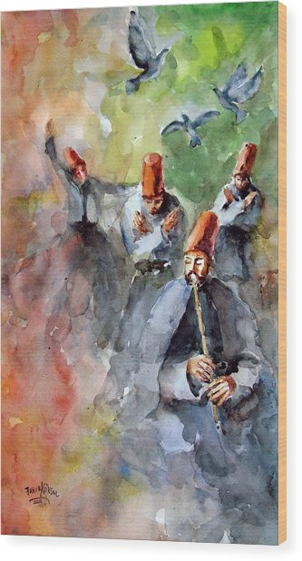 Whirling Dervishes And Pigeons         Wood Print