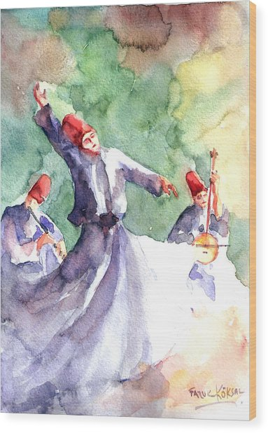 Whirling Dervishes Wood Print