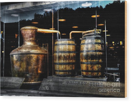 Whiskey Still On Main Street Wood Print