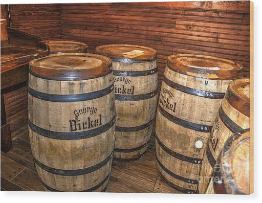 Whisky Barrels Wood Print