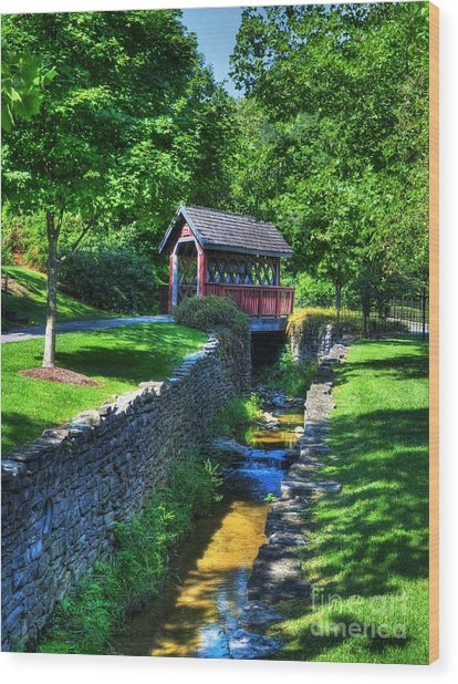 Whisky Creek Bridge Wood Print by Mel Steinhauer