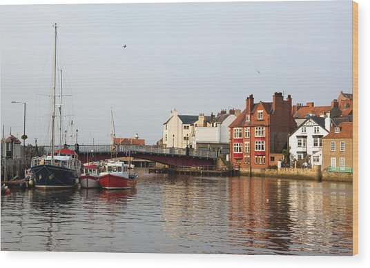 Whitby Harbour Wood Print