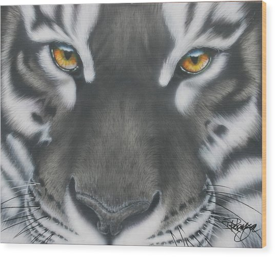 White And Black Tiger Wood Print