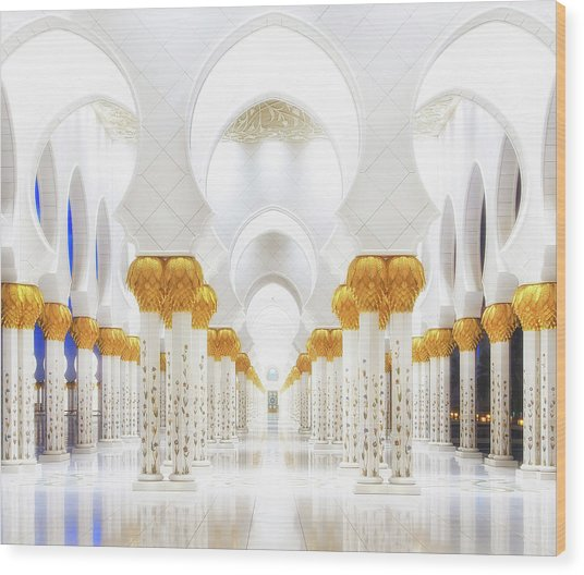 White And Gold Wood Print by Mohamed Raof