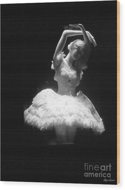 White Ballerina Wood Print