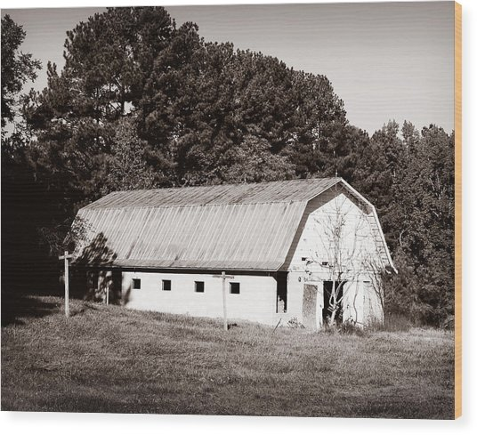 White Barn Wood Print