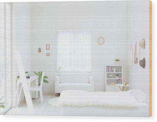White Bedroom Wood Print by Bloom Image