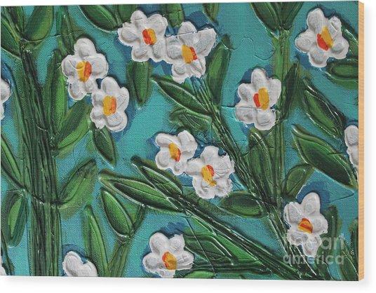 White Blooms 2 Wood Print