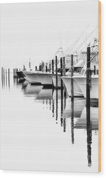 White Boats II - Outer Banks Bw Wood Print by Dan Carmichael