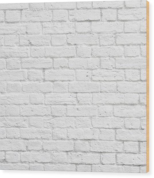 White Brick Wall Wood Print