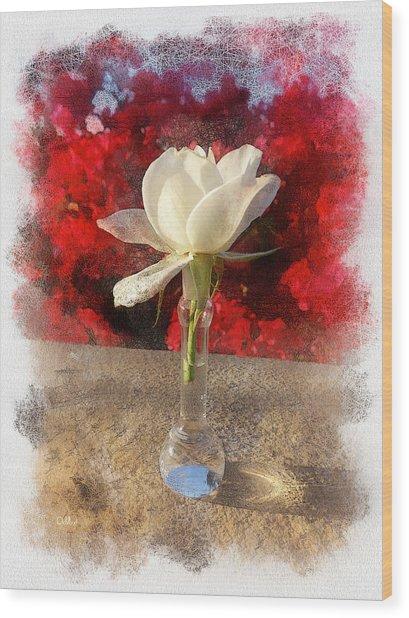 White Bud And Vase Wood Print by Rick Lloyd