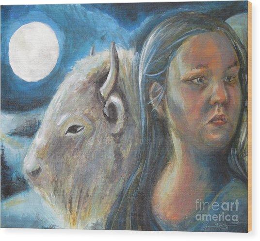 White Buffalo Portrait Wood Print