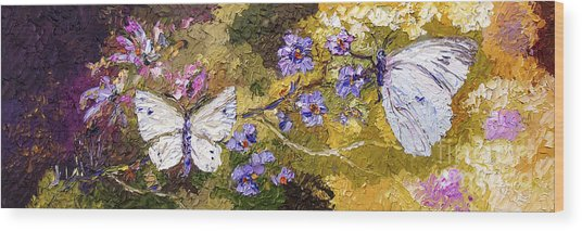 White Butterflies Impressionist Oil Painting Wood Print