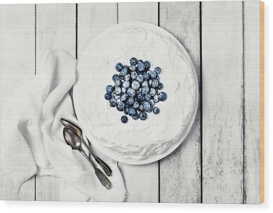 White Cake With Blueberries Wood Print by Claudia Totir