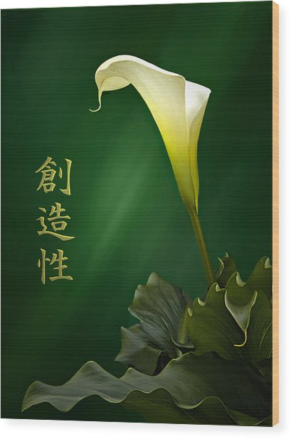 White Calla Lily Wood Print