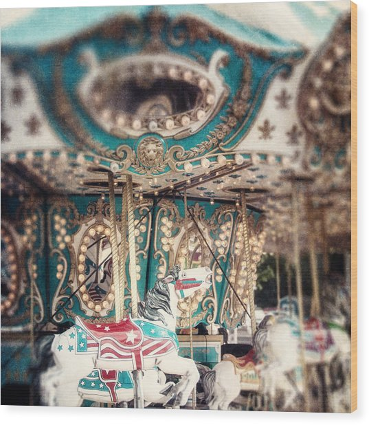 White Carousel Horse On Teal Merry Go Round Wood Print by Lisa Russo