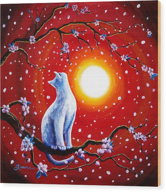 White Cat In Bright Sunset Wood Print