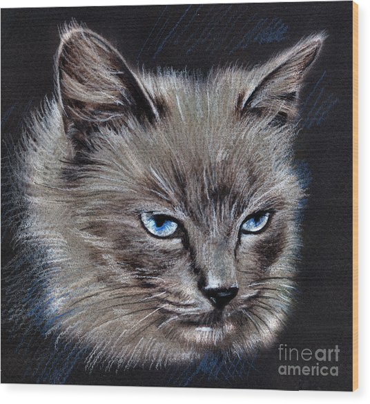 White Cat Portrait Wood Print