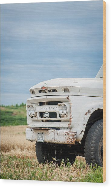 White Chevy Truch Wood Print