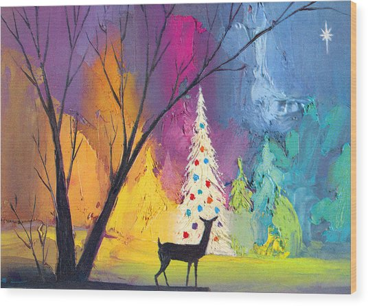 White Christmas Tree Wood Print