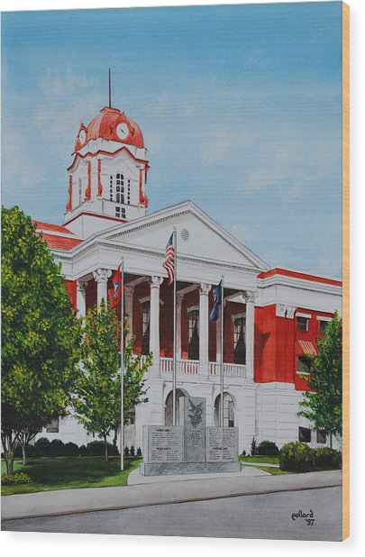 White County Courthouse - Veteran's Memorial Wood Print