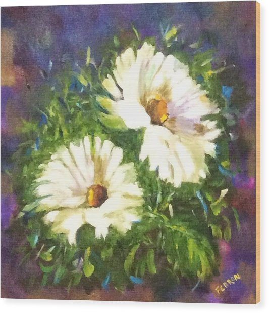 Wood Print featuring the painting White Daisies  by Patti Ferron