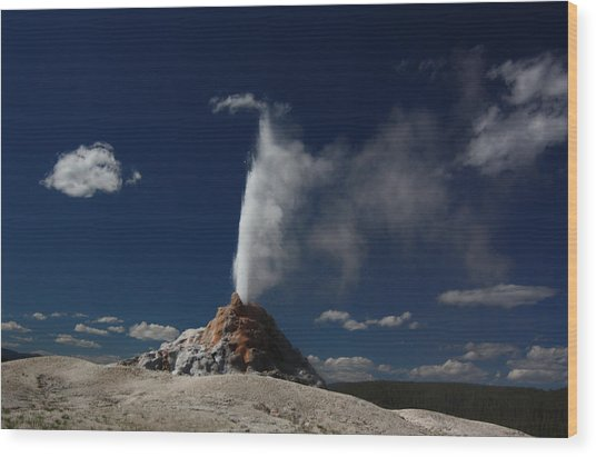 White Dome Geyser In Yellowstone National Park Wood Print