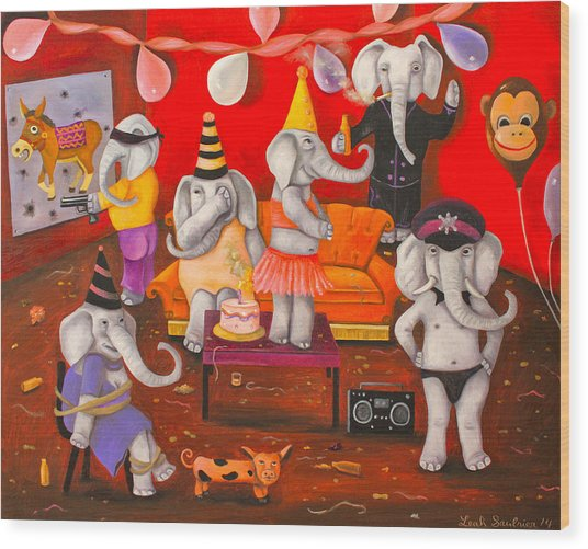 White Elephant Party Edit 5 Wood Print