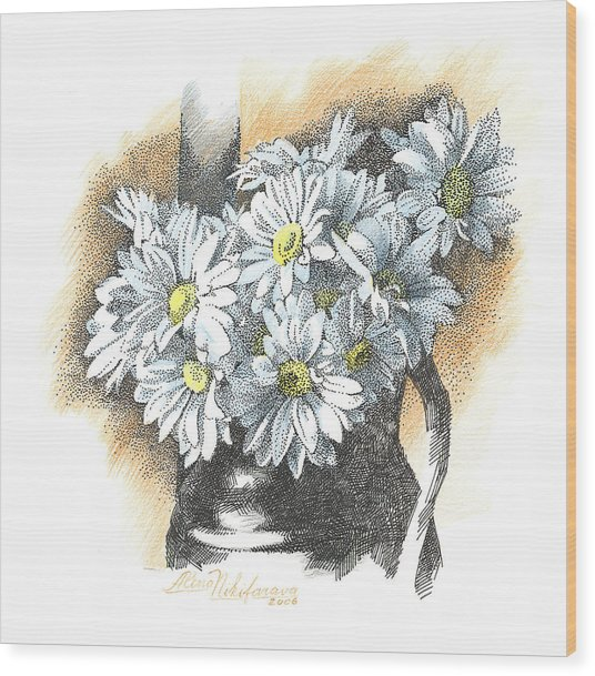 White Flowers Pointillism Drawing  Wood Print