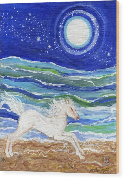 White Horse Of The Sea Wood Print