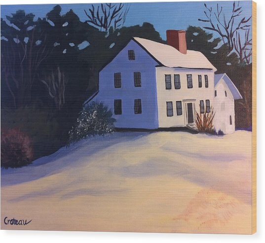 Wood Print featuring the painting White House On A Snowy Hill by Jane Croteau