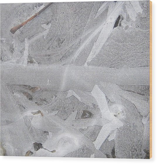 White Ice Design Wood Print by Carolyn Reinhart
