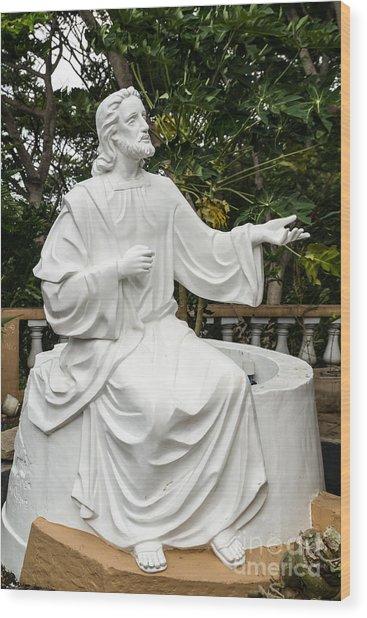 White Jesus Statue Wood Print