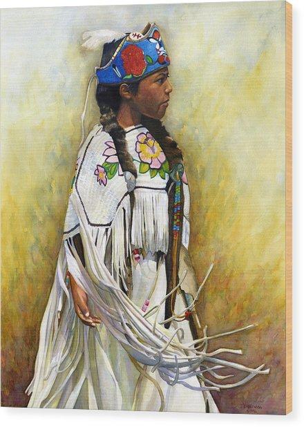 White Leather Buckskin And Headdress Wood Print by Jacquelin L Vanderwood Westerman