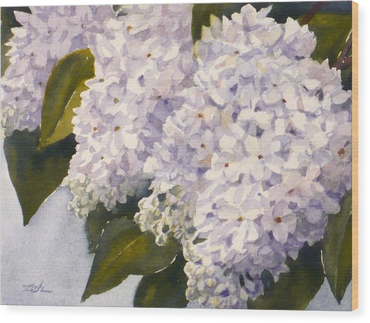 White Lilacs Wood Print