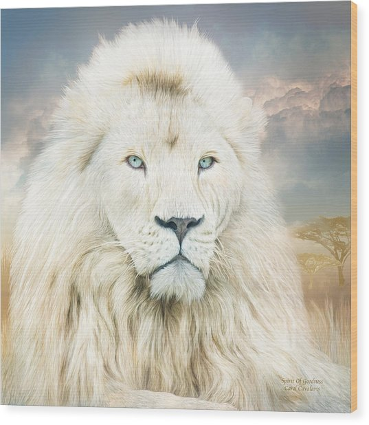 Wood Print featuring the mixed media White Lion - Spirit Of Goodness by Carol Cavalaris