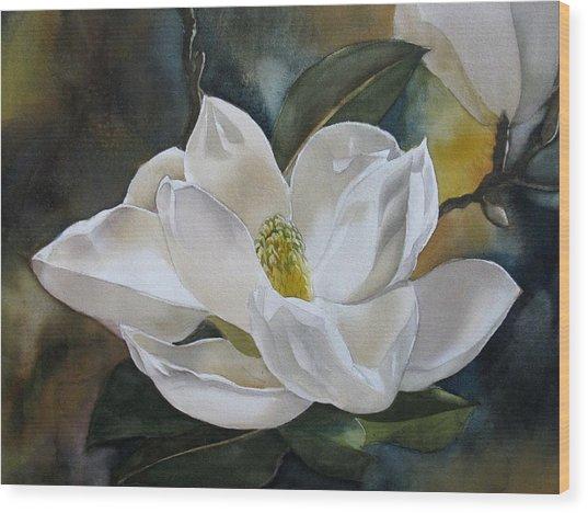 White Magnolia Wood Print by Alfred Ng