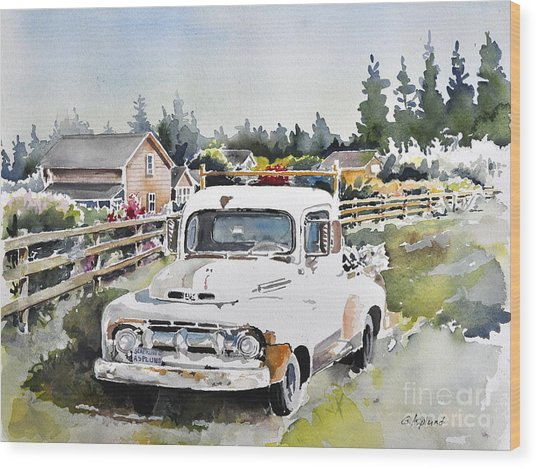 White Old Truck Parked Over The Fench Wood Print