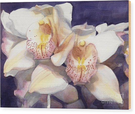White Orchids Watercolor Wood Print