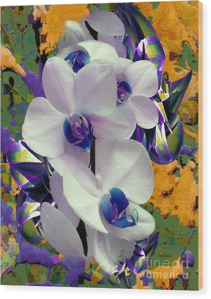 White Orchids With A Touch Of Purple Wood Print by Doris Wood