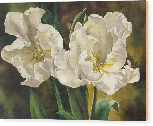 White Parrot Tulips Wood Print