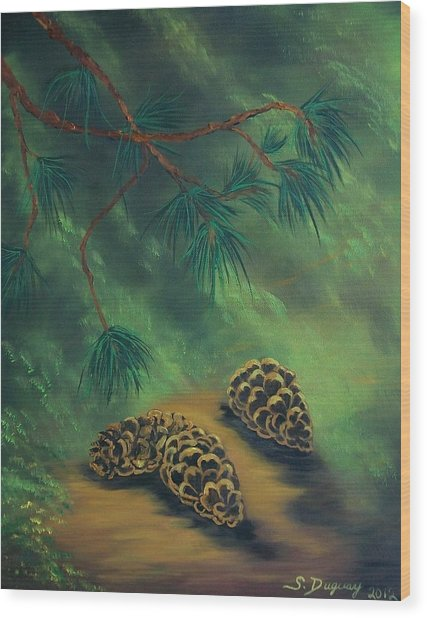 White Pine  And Cones Wood Print